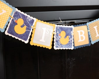 Rubber Duck Birthday Banner, Happy Birthday banner, Rubber Duck Birthday Party, Duck Theme, Navy, Blue, Yellow
