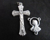 Italian Silver Rosary Crucifix and Matching Mary/Jesus Center - 1 set