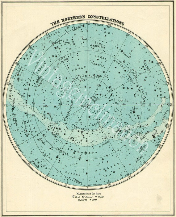 Star Chart Northern Sky Astronomy Print 1940s Constellations Map