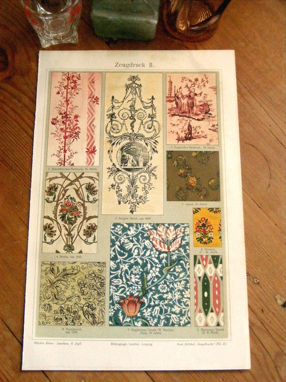 Antique Vintage 1894 Chromolithograph, ZEUGDRUCK II Ornamental Fabric Design, Morris, 1800s art German color lithograph
