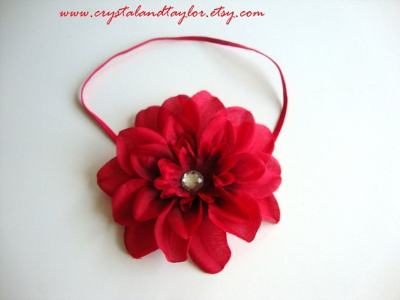 Beautiful Red Elastic Headband with Red Flower - Perfect for Photos - Newborn, Baby, and Toddler Sizes Available