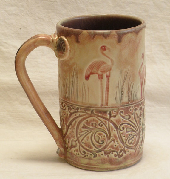 ceramic flamingo coffee mug 16oz  stoneware 16B014