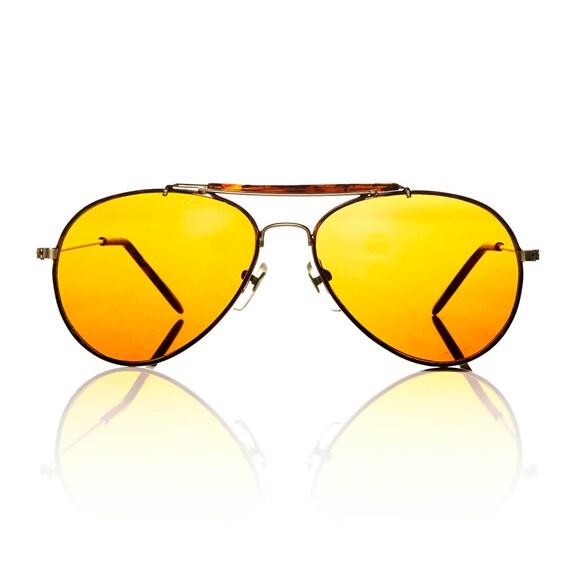 Mens Yellow Frame Sunglasses : Duke Sunglasses Gold Aviator Frame Yellow by AmericanDeadstock