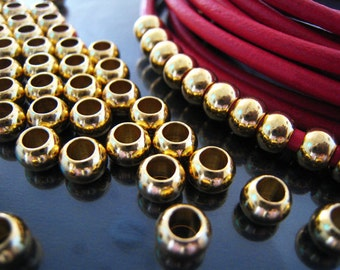 Finding - 10 pcs Gold Round Ball Spacers Beads with Large Hole ( 7mm x 5mm )