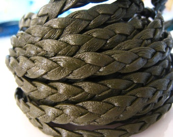1 Yard of 7mm Green Lace Strap Genuine Flat Braided Leather Cord