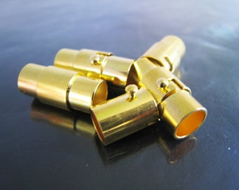 Finding - 2 Set Gold of Open Round Magnetic Buckle Ends Clasp Clousure Fastener 12mm x 8mm ( Inside 6mm Diameter )