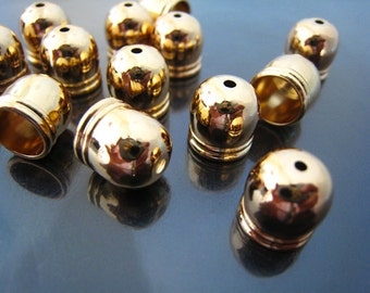 20 pcs Polished Gold Dome Round Tone End Cap For Round Leathers 10mm x 10mm ( Inside 8mm diameter )