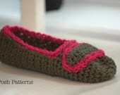 Crochet PATTERN - Easy Crochet Slippers Pattern - Crochet Patterns for Women - Crochet Patterns - House Shoes - Teen Ladies Women - PDF 234