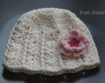 Crochet PATTERN - Crochet Hat Pattern - Crochet Patterns for Women - Crochet Pattern Baby - Includes 6 Sizes Newborn Baby to Adult - PDF 102