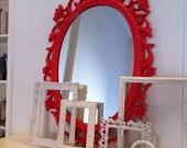 Painted Vintage Mirror in Coral, Funky Home Decor, Sleeping Beauty, Hollywood Regency
