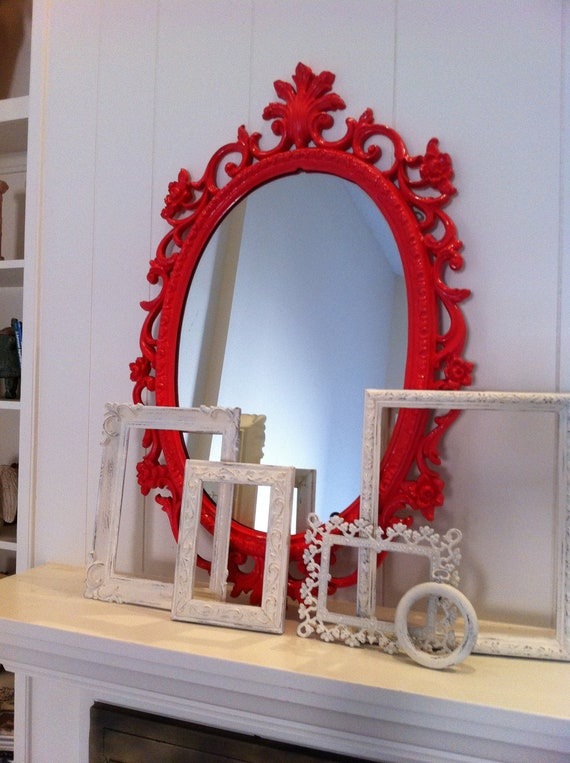Painted Vintage Mirror in Coral, Funky Home Decor, Sleeping Beauty, Hollywood Regency