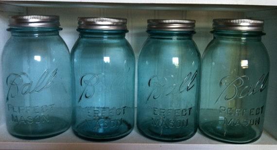 Vintage Blue Quart Ball Mason Jars