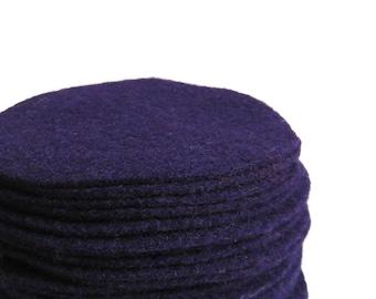 "30 pcs, 3"" Hand cut Purple Felt Fabric Circles"