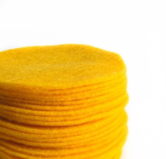 "30 pcs, 3"" Marigold Yellow Felt Circles"