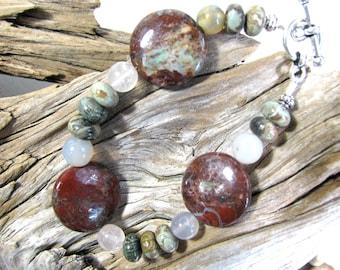 Red bracelet, Petersite with Serpentine, beaded bracelet, gemstones 263