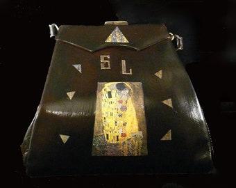"""vintage   handbag  1940's  black leather  """"LE BAISER""""  unique piece french vintage purse"""