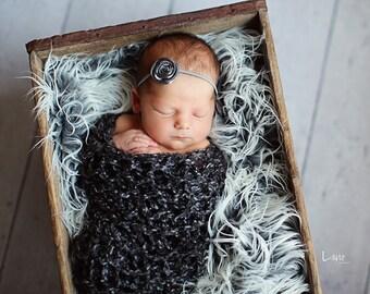 Newborn Stretch Wrap/ Blanket Photo Prop- CHARCOAL Lush Wrap- Newborn photo prop - knitbysarah - stitchesbysarah