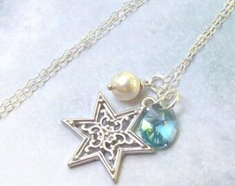 Silver Star Necklace, Christmas Star Necklace, sterling silver, swarovski crystal necklace, fall fashion, star of David