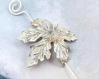 Maple Leaf Shawl Pin, Leaf Scarf Pin, silver shawl pin, Silver Hair Slide, oxidized, fall fashion, organic, barrette, woodland