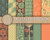 Green Orange Beige Geometric Damask Digital Paper for Personal or Commercial Use Digital Collage Sheets Background - 12 Sheets - 12258