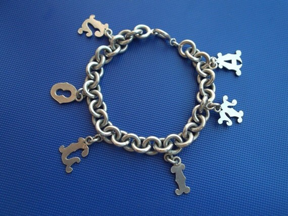 "Vintage Sterling Silver Heavy Name Charm Bracelet ""Lolita"""