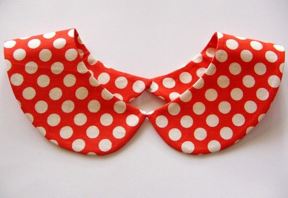 Red and White Polka Dot Handmade Detachable Peter Pan Collar Necklace / Must Have On Trend Summer Accessory / Col Claudine