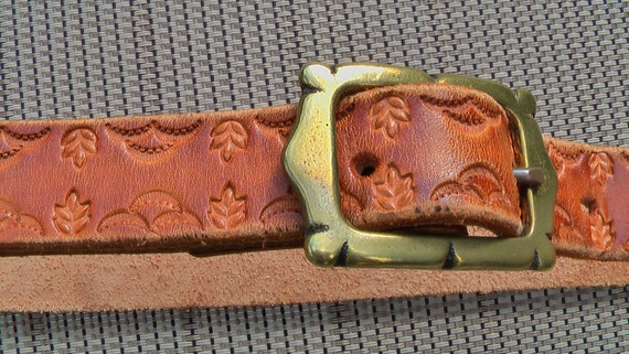 Vintage Tooled Leather And Brass Small Western Style Belt