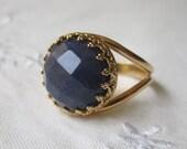 Sapphire blue jade ring, Gemstone ring, Dark blue ring, Vintage ring, gold ring,Gold cocktail ring, 14mm Faceted dark blue ring, bridal rin
