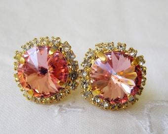 Soft Pink Swarovski stud earrings, Bridal earrings, Bridesmaid gifts, Crystal stud earrings,  Swarovski stud earrings, Pink studs