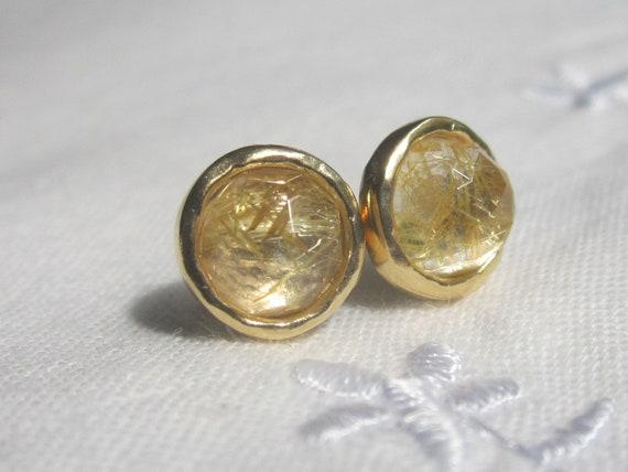 Rutilated Quartz Stones : Rutilated quartz stud earrings clear stone post