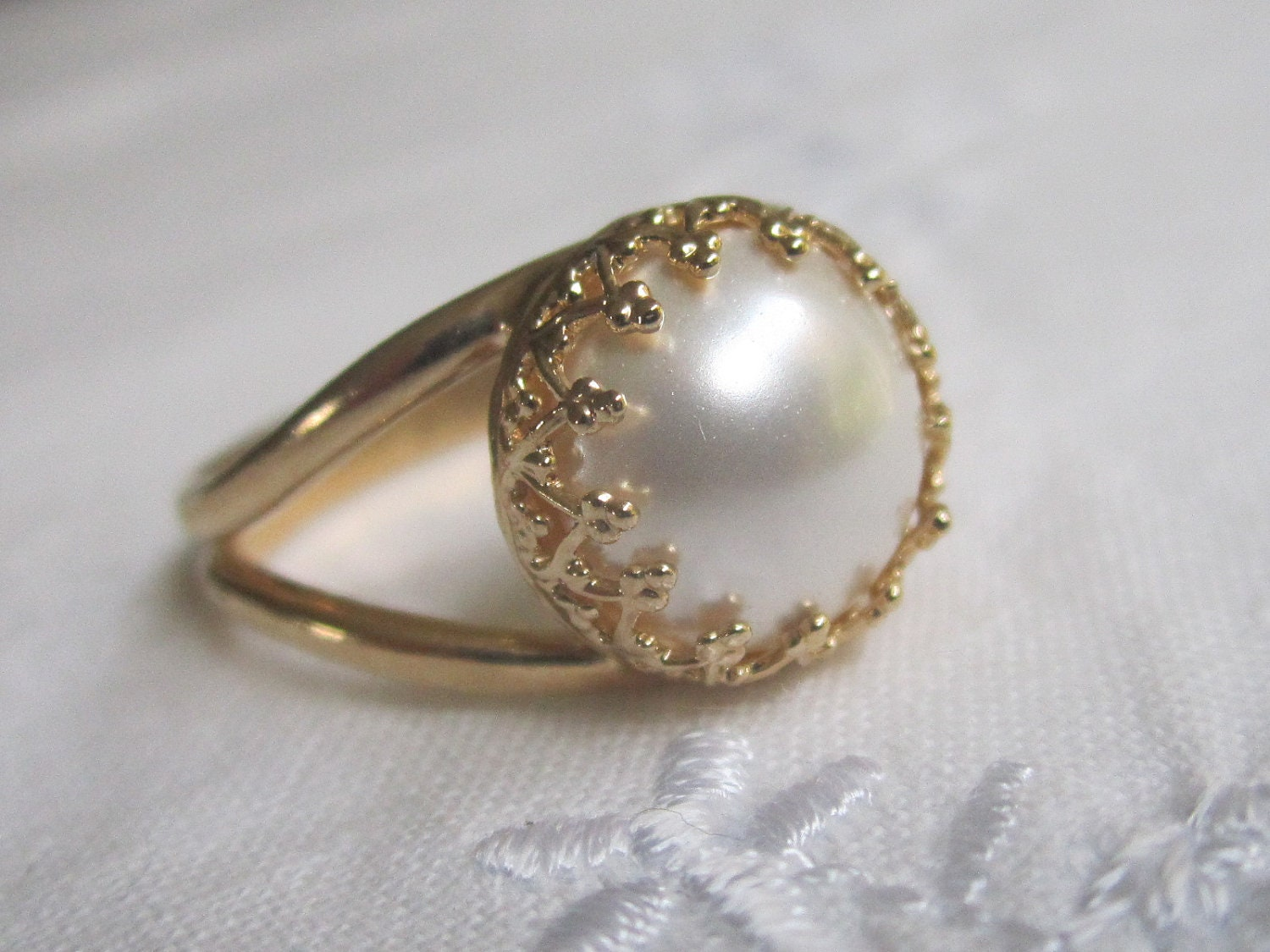 white pearl in gold ring gold ring bridal ring by