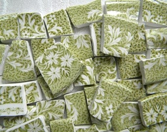 VINTAGE Mosaic China Tiles - Broken Plates - Cottage Chic White Designs on Clover/Moss Green - 100 Tiles
