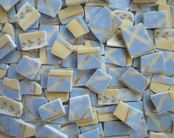 SALE - Mosaic China Tiles - Blue LATTICE - 100 Plus Tiles - Recycled Plates