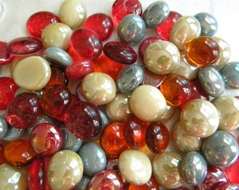 50 Glass Gems - AUTUMN MIX - Mosaic Supplies Floral/Candle Displays - Half Marbles/Cabochons/Glass Nuggets