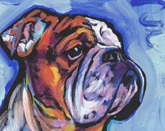 Bulldog art print pop dog art bright colorful dog portrait art 12x16 by LEA