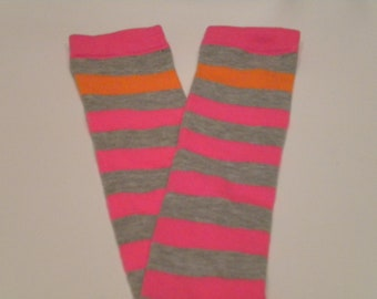 Baby Legwarmers Hot Neon Pink, Orange, and Gray Stripes READY TO SHIP