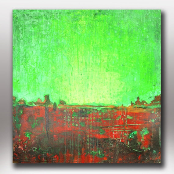 Art painting abstract acrylic original  canvas painting sale Green Day  Abstract Landscape 24X24
