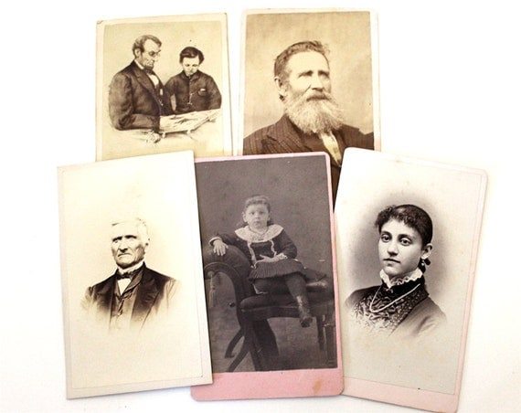 Antique Cabinet Card Set 5 Original Vintage Photographs Men, Women and Children