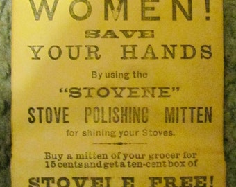 WOMEN Save Your Hands      STOVENE Stove Polish Bag- Over 100 Years Old