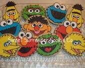 Elmo - Cookie Monster - Sesame Street Decorated Sugar Cookies - 1 Dozen