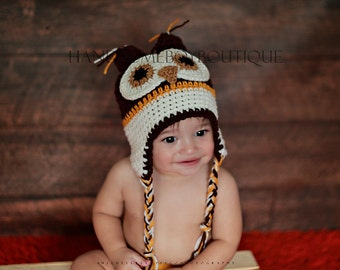 Owl Hat Baby Boy Beanie owl  Crochet hat Photo Prop Photography