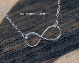 Small, Asymmetric, Solid Sterling Silver Infinity, Sterling Silver Chain Necklace, Eternity, Forever, birthday gift, anniversary gift
