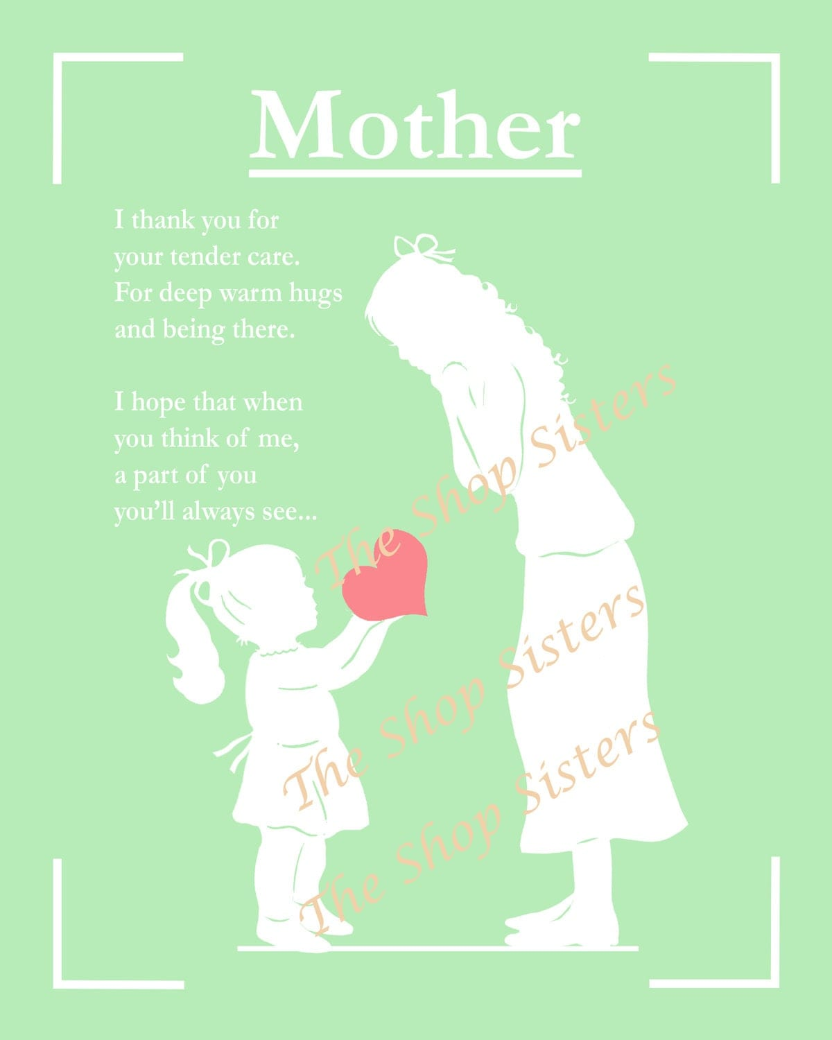 Mother's Day Mother Daughter Poem Silhouette Green White