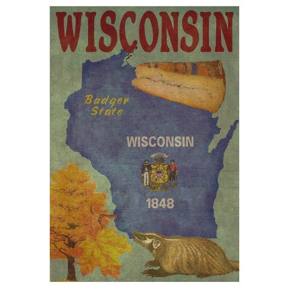 WISCONSIN 1F- Handmade Leather Wall Hanging - Travel Art