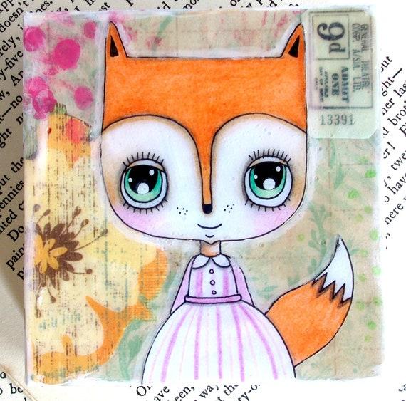 Fox Painting Original Mixed Media Cute Fox Girl