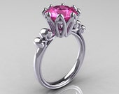 Modern Antique 10K White Gold 3.0 Carat Pink Sapphire Solitaire Engagement Ring AR135-10KWGPS