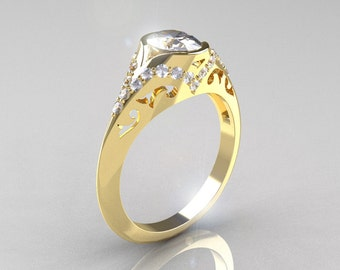 Classic 14K Yellow Gold Oval White Sapphire Diamond Wedding Ring, Engagement Ring R194-14KYGDNWS