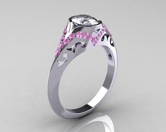 Classic 950 Platinum Oval White and Light Pink Sapphire Wedding Ring, Engagement Ring R194-PLATLPSNWS