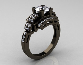 Modern Edwardian 14K Black Gold 1.0 Carat Cubic Zirconia Diamond Ring R202-14KBGDCZ