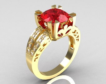 Modern Vintage 14K Yellow Gold 3.0 Carat Ruby Diamond Solitaire Ring R102-14KYGDR